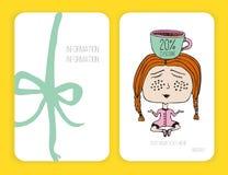 Tarjeta del descuento del café Modelo para su diseño Muchacha y taza de meditación doodle Fotografía de archivo libre de regalías
