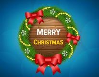 Tarjeta del deseo de la Feliz Navidad stock de ilustración