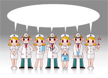 Tarjeta del discurso del doctor y de la enfermera de la historieta Imágenes de archivo libres de regalías