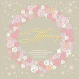 Tarjeta del diseño con la guirnalda dulce de Rose en memoria Foto de archivo