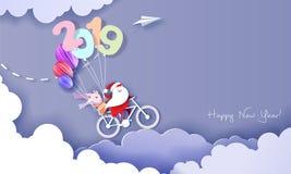 Tarjeta del diseño de la Feliz Año Nuevo 2019 con Papá Noel y el duende stock de ilustración