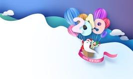Tarjeta del diseño de la Feliz Año Nuevo 2019 con Papá Noel y el duende libre illustration