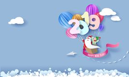 Tarjeta del diseño de la Feliz Año Nuevo 2019 con Papá Noel y el duende ilustración del vector