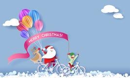 Tarjeta del diseño de la Feliz Navidad con Papá Noel y el duende ilustración del vector