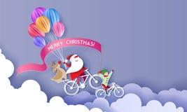 Tarjeta del diseño de la Feliz Navidad con Papá Noel y el duende libre illustration
