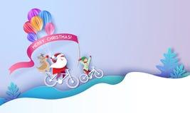 Tarjeta del diseño de la Feliz Navidad con Papá Noel y el duende stock de ilustración