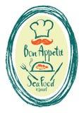 Tarjeta del diseño del restaurante de Bon Appetit Sea Food Foto de archivo