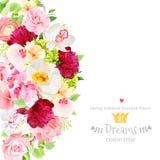 Tarjeta del diseño del vector del verano con las flores y las hojas Imagen de archivo libre de regalías