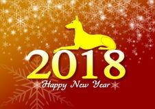 Tarjeta del diseño del ejemplo de la Feliz Año Nuevo 2018, año de la enhorabuena del perro amarillo Foto de archivo libre de regalías