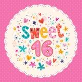 Tarjeta del dulce dieciséis Fotos de archivo libres de regalías