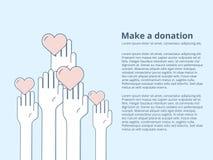 Tarjeta del ejemplo del estilo del icono del vector o plantilla del cartel con caridad y objetos Fundraising Cartel voluntario Fotos de archivo libres de regalías