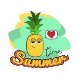 Tarjeta del ejemplo del tiempo de verano Personaje de dibujos animados divertido de la piña Imagenes de archivo