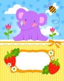 Tarjeta del elefante del bebé Fotografía de archivo