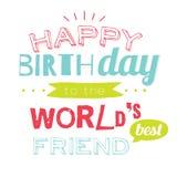 Tarjeta del feliz cumpleaños al amigo Imagen de archivo