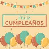 Tarjeta del feliz cumpleaños con colores del vintage Foto de archivo libre de regalías