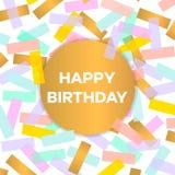 Tarjeta del feliz cumpleaños con confeti colorido Ilustración del vector Imagenes de archivo