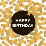 Tarjeta del feliz cumpleaños con confeti de oro Ilustración del vector Foto de archivo