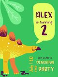 Tarjeta del feliz cumpleaños con el dinosaurio de la diversión, aviso de la llegada de Dino, ejemplo de los saludos libre illustration