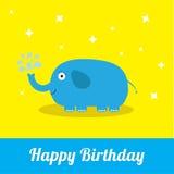 Tarjeta del feliz cumpleaños con el elefante y la fuente lindos Diseño plano del fondo del bebé Imagen de archivo libre de regalías