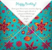 Tarjeta del feliz cumpleaños con el estampado de flores colorido Imagen de archivo libre de regalías