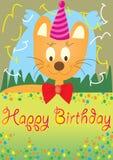 Tarjeta del feliz cumpleaños con el gato feliz Fotos de archivo