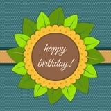 Tarjeta del feliz cumpleaños con el girasol abstracto Fotos de archivo libres de regalías