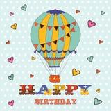 Tarjeta del feliz cumpleaños con el globo del aire caliente y Imágenes de archivo libres de regalías