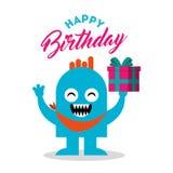 Tarjeta del feliz cumpleaños con el monstruo Fotos de archivo libres de regalías