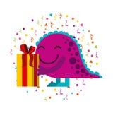 Tarjeta del feliz cumpleaños con el monstruo Fotografía de archivo libre de regalías