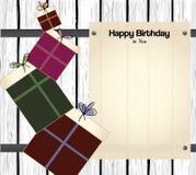 Tarjeta del feliz cumpleaños con el papel en blanco para el texto Imagen de archivo