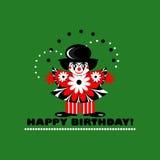 Tarjeta del feliz cumpleaños con el payaso Imagen de archivo