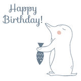 Tarjeta del feliz cumpleaños con el pingüino y los pescados libre illustration