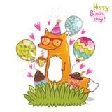 Tarjeta del feliz cumpleaños con el zorro del inconformista Imagen de archivo libre de regalías