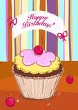 Tarjeta del feliz cumpleaños con la torta. ilustración del vector