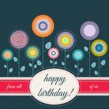 Tarjeta del feliz cumpleaños con las flores abstractas Fotos de archivo libres de regalías
