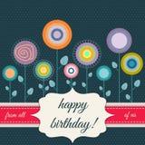 Tarjeta del feliz cumpleaños con las flores abstractas Foto de archivo libre de regalías