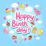 Tarjeta del feliz cumpleaños con las magdalenas y los globos. Imagenes de archivo