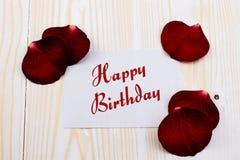 Tarjeta del feliz cumpleaños con las rosas Imagen de archivo libre de regalías