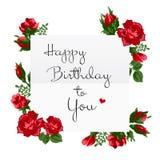 Tarjeta del feliz cumpleaños con las rosas rojas Imagenes de archivo