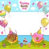 Tarjeta del feliz cumpleaños con los anillos de espuma y las magdalenas. stock de ilustración
