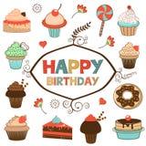 Tarjeta del feliz cumpleaños con los dulces Foto de archivo libre de regalías