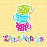 Tarjeta del feliz cumpleaños con los potes del cuarto de niños Imagenes de archivo