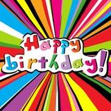 Tarjeta del feliz cumpleaños con resplandor solar coloreado stock de ilustración