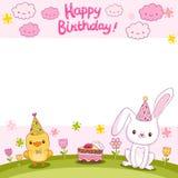 Tarjeta del feliz cumpleaños con un conejito y un pájaro Imágenes de archivo libres de regalías