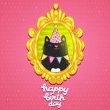 Tarjeta del feliz cumpleaños con un gato en marco. Imágenes de archivo libres de regalías