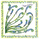 Tarjeta del feliz cumpleaños, tarjeta de felicitación pintada con bru multicolor libre illustration
