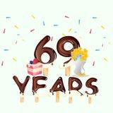 69.a tarjeta del feliz cumpleaños de los años Fotos de archivo