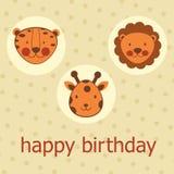 Tarjeta del feliz cumpleaños de los animales de la selva Imágenes de archivo libres de regalías