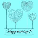 Tarjeta del feliz cumpleaños en el estilo del zenart, corazones en el fondo azul w libre illustration