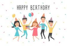 Tarjeta del feliz cumpleaños Fiesta de cumpleaños con la gente joven feliz Fotografía de archivo libre de regalías